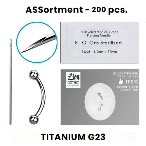 Eyebrow Bananas Piercing Kit Containing 200 pcs of Titanium G23 16 Gauge 14 Gauge