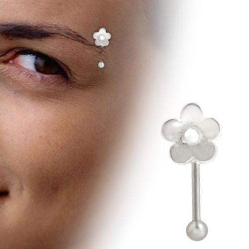 Sterling Silver Flower Barbell Eyebrow Ring