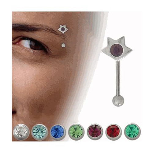 Sterling Silver Star Design Eyebrow Ring with Jewel