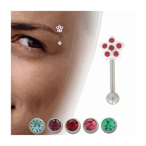 Sterling Silver Star Eyebrow Ring with CZ Jewels