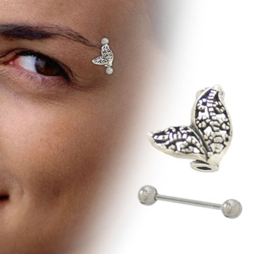 Silver Unique Abstract Design Eyebrow Shield with Barbell