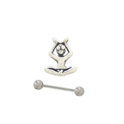 Eyebrow Shield Sterling Silver Man Design with Barbell