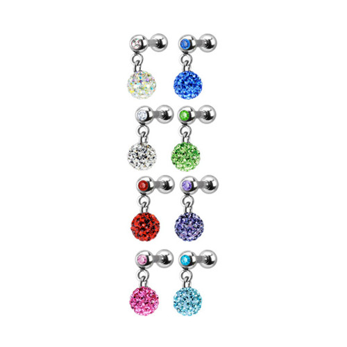 Ferido Crystal Dangle Gem Ball Cartilage/Tragus Barbell Earring