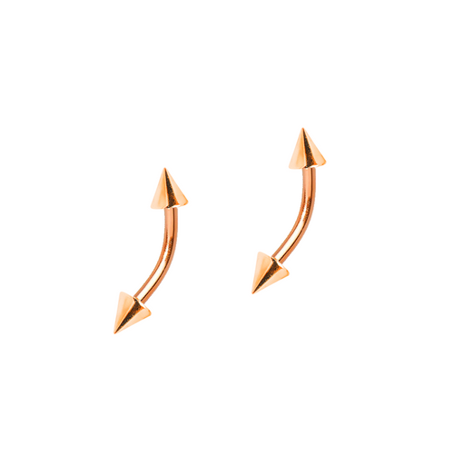 Pair of Eyebrow or Cartilage 16ga Curved Rose Gold Barbells with Spike Ends