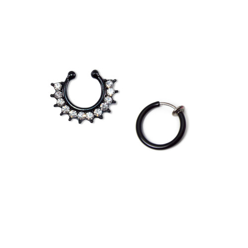 Faux Septum and Nose Clip Set Black