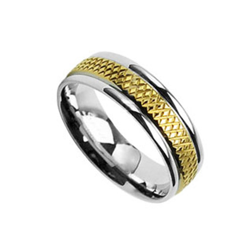 Finger Ring Stainless Steel with Grooved Gold Design
