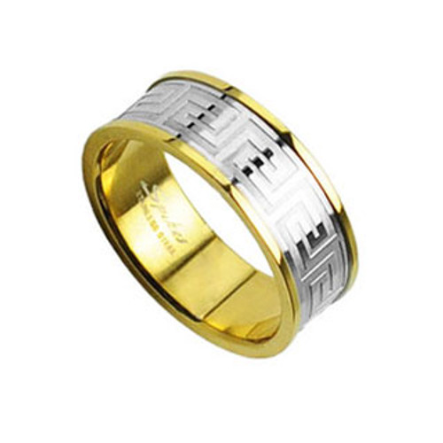 Finger Ring Stainless Steel with Maze Design (IP Gold)