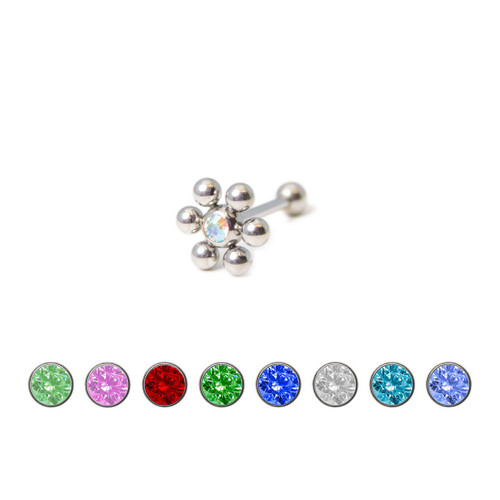 Steel Tongue Barbell with Press-fit Colored Gem