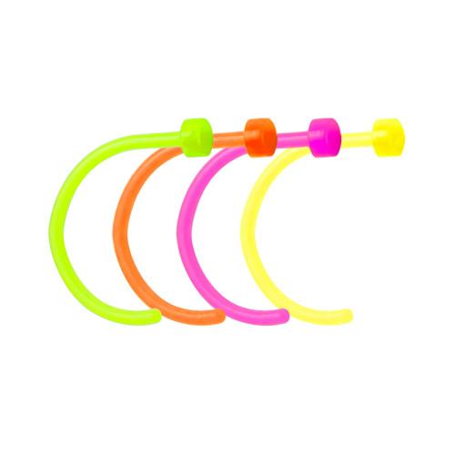 "Bioflex Nose Piercing Hoops - 4-Pack UV Glow Flexible Nose Hoops - 18ga-5/16"""