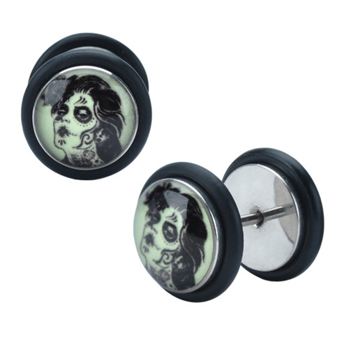 Day of the Dead Woman Glow-in-the-dark Fake Plugs - Sold as Pair
