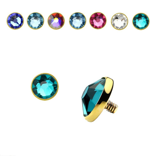 Dermal Anchor Top 14k Solid Gold Implant 5mm Flat CZ 16 Gauge - Sold Each