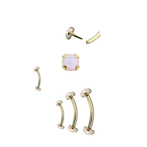 Push in Curved Barbell 14kt Solid Yellow Gold with Synthetic Opal Ball Ends 16 Gauge- Sold Each