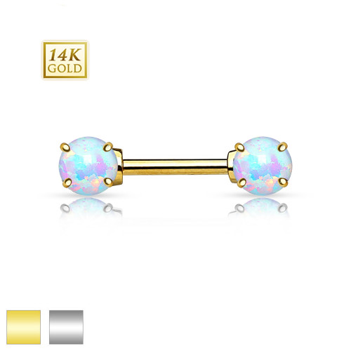 "Pair of 14K Gold Nipple Bars - Double Prong Set Genuine Opalite - 14ga-1/2""(12 mm)"