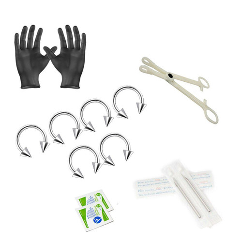 12-Piece Piercing Kit - Includes 6 16g Horse shoe with spikes, 2 Needles, 1 Forceps, 2 Alcohol Wipes and a Pair of Gloves