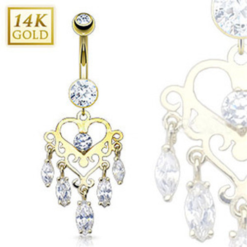 14 Karat Solid Yellow Gold Navel Ring with Marquise CZ Dangle Heart Chandelier