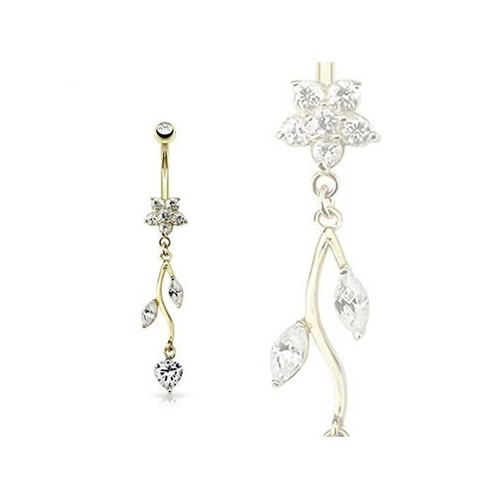 14K Gold Belly Navel Ring - Vine CZ Dangle 14 Karat Solid Yellow Gold Flower