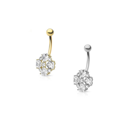 "14ga-3/8""(10mm) 14Kt Solid Gold Heart Cut Flower Petals CZ Navel Ring"
