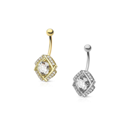 "14ga-3/8""(10mm) 14Kt Solid Gold Diamond Cut Round CZ Pronged in Multi Paved Windmill Design Navel Ring"