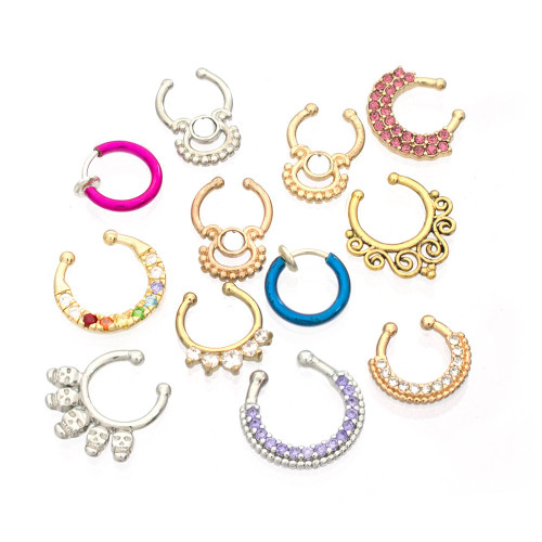 Pack of 12 Randomly Picked Faux Septum Jewelry Surgical Steel