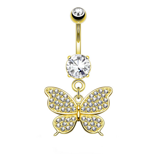 Solid 14K Yellow Gold Butterfly Design Navel Ring