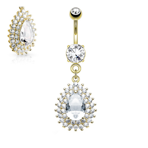 Tear Drop Design 14ga Belly Ring with Double Tier Paved CZ Gem