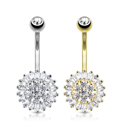 Clear CZ Sun Flower 14 Karat Solid Gold Belly Button Ring 14ga