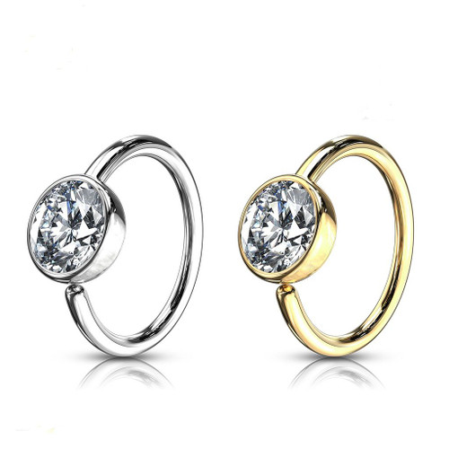 Ball CZ Hoop Ring 14 Karat Solid Gold Bendable 20ga