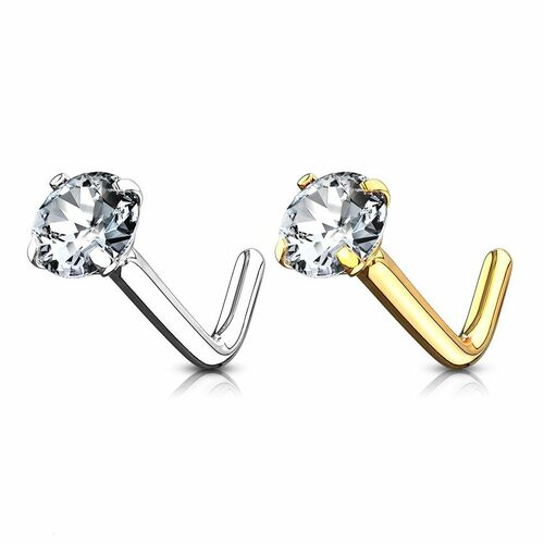 14Kt Gold L Bend Nose Ring with 2mm Prong Set Round CZ