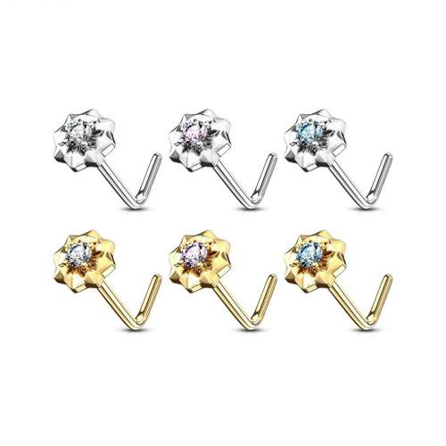 14Kt. Gold L Bend Nose Ring with Prong Set CZ Center Starburst 20ga