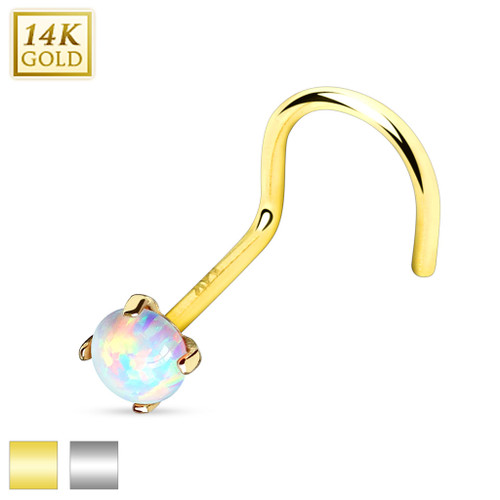 20ga Gold Nose Screw - Prong Set Opalite Stone Top - 14K Solid Gold