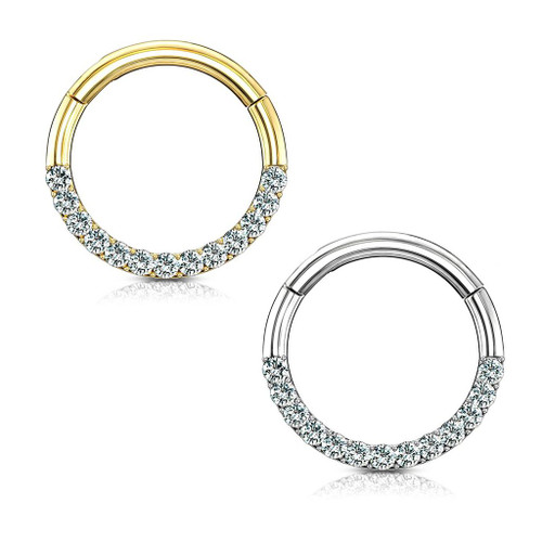 14Kt. Gold CZ Paved half Circle Hinged Hoop Rings for Nose ,Septum, Daith 16ga