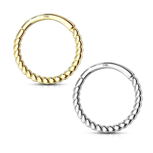 14 Kt. Solid Gold Braided Hinged Clicker Hoop Ring- Nose , Septum, Tragus, Rook, Cartilage 16ga