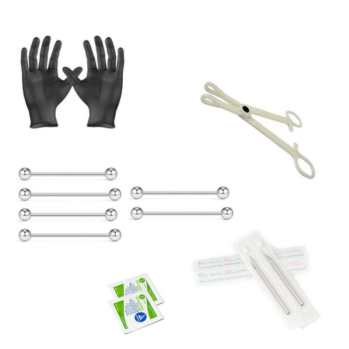 12-Piece Industrial Barbells Piercing Kit - Includes (6) 14g Industrial Barbells, (2) Needles, (1) Forceps, (2) Alcohol Wipes and a Pair of Gloves