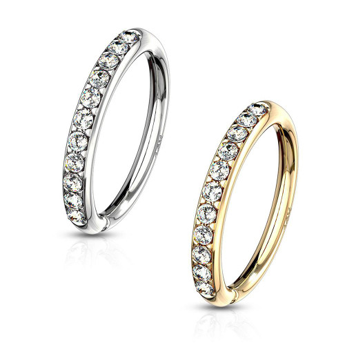 14 Kt. Gold CZ Paved Half Circle Bendable Hoop Rings For Ear Cartilage, Eyebrow, Nose 20ga 18ga 16ga