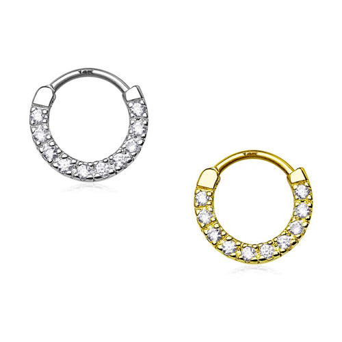 14Kt Gold Septum Clicker - Ten Paved CZ Single Line
