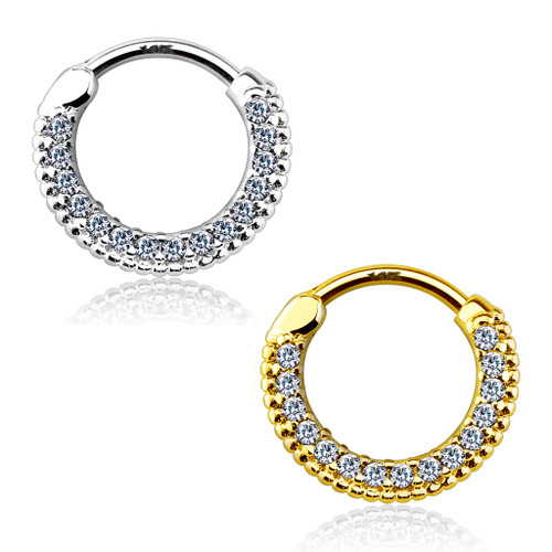 Septum Clicker Round Paved Gems 14Kt  Solid Gold- Sold Each