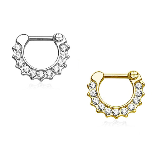 14Kt Gold Septum Clicker - CZ Paved Round Single Line