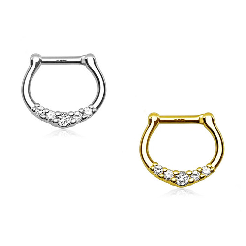14Kt Gold Septum Clicker - Five CZ Paved