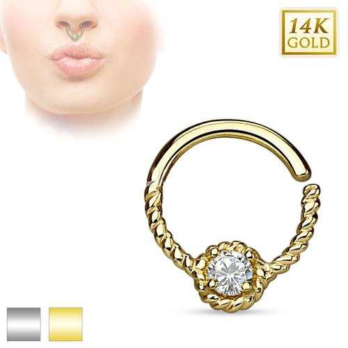Gold Braided 16ga Septum Ring with Round CZ Gem