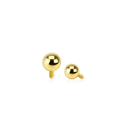 14 Karat Solid Yellow Gold Dermal Top Internally Threaded Ball - 3mm