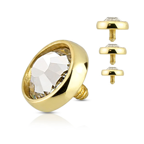 Flat Dome CZ 14 Karat Gold Internally Threaded Dermal Anchor Top