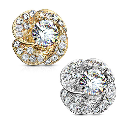14Kt Gold Dermal Anchor Top with CZ Paved Rose Blossom with Round CZ Center