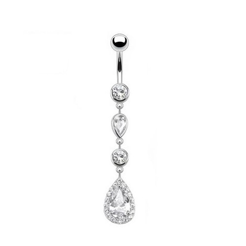 14KT Solid White Gold Navel Ring - Cascading Teardrop Dangle with Multi Paved CZ