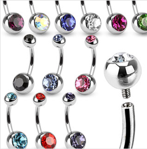 130 Piece Surgical Steel Internally Threaded Belly Rings