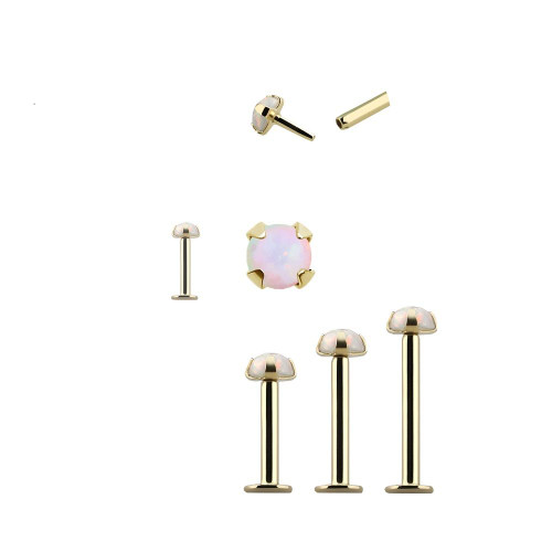 Push in Monroe Labret 14kt Solid Yellow Gold with Synthetic Opal Ball  16 Gauge- Sold Each