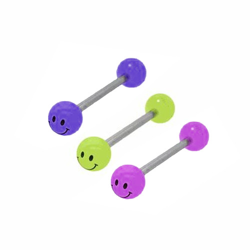 Glow in the Dark Smiley Face Barbell Tongue Ring