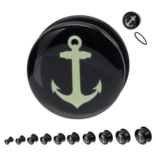 Pair of Glow-in-the-Dark Anchor Single Flare Ear Plugs