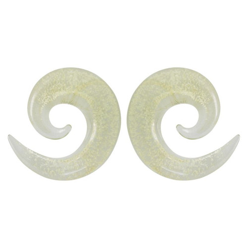 Pair of Glow In The Dark Glass Ear Tapers