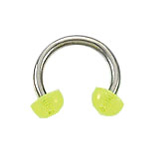 Body jewelry, 316L surgical steel with glow-in-the-dark Half-bead design, Horse Shoe ring