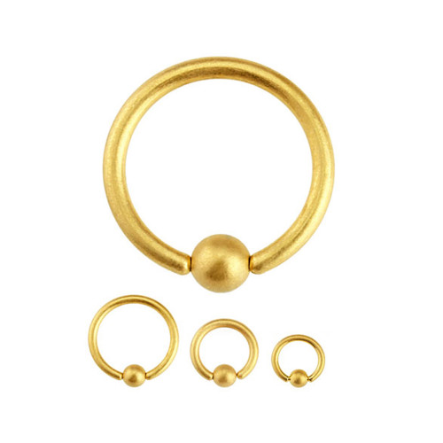 Matte Ion Plated Gold Captive Bead Ring